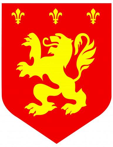 Decorazione medievale con leone rossa