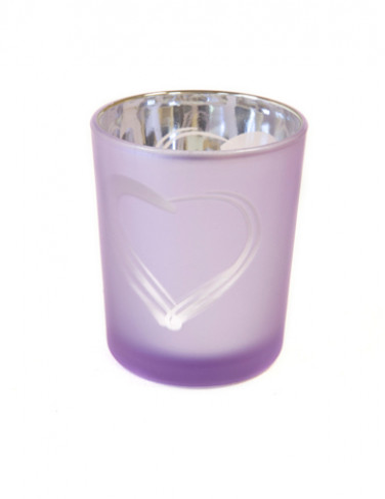Portacandele in vetro con cuore lilla