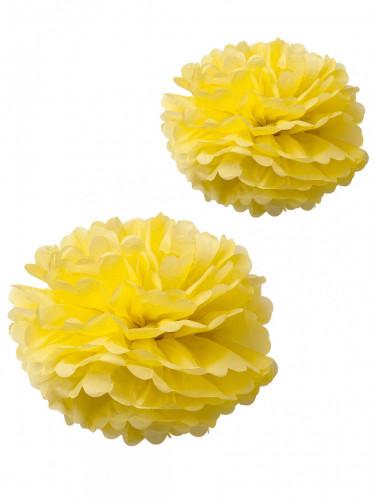 2 pon pon in carta velina gialli 40 e 50 cm