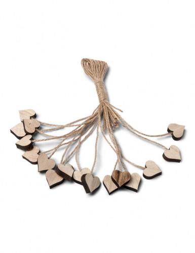 16 cuori di legno con filo