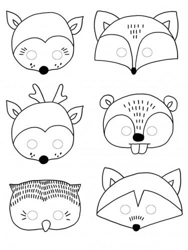 6 maschere da colorare tema foresta