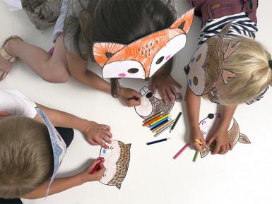 6 maschere da colorare tema foresta-2