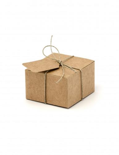 10 scatole in cartone quadrate con etichette