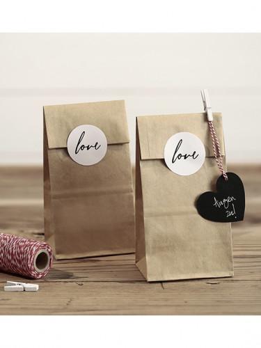 6 sacchetti kraft con etichette Love-2