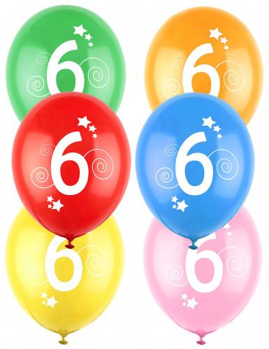 12 palloncini in lattice colorati con stelle numero 6