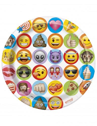 8 piatti emoticons di cartone Emoji™ 23 cm