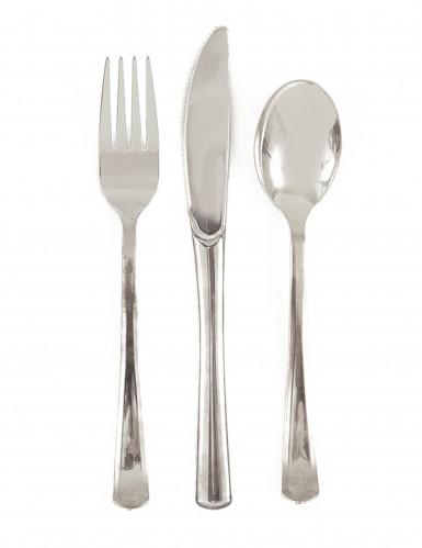18 posate argento metallizzato