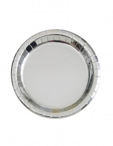 8 piattini rotondi argento metallizzato 18 cm