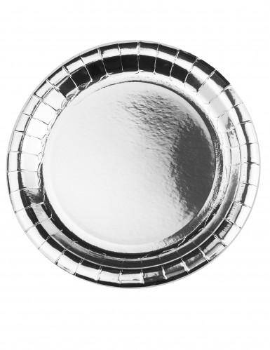 8 piatti di cartone metallizzato argento 23 cm
