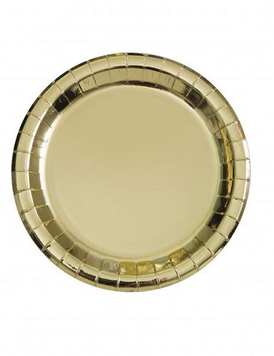 8 piattini rotondi oro metallizzato 18 cm