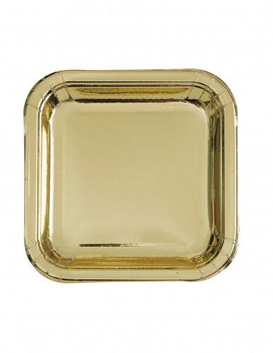 8 piattini quadrati oro metallizzato 18 cm