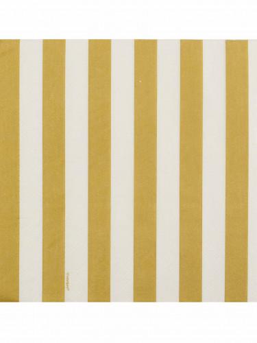 16 tovaglioli a righe bianco e oro-1