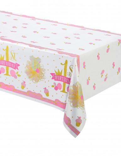 Tovaglia in plastica cupcakes rosa e oro 1° compleanno