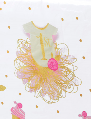Tovaglia in plastica cupcakes rosa e oro 1° compleanno-1