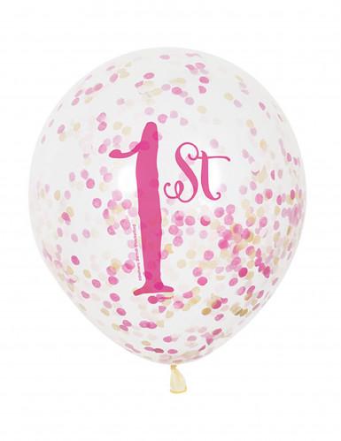 6 palloncini lattice 1° compleanno rosa e oro con coriandoli