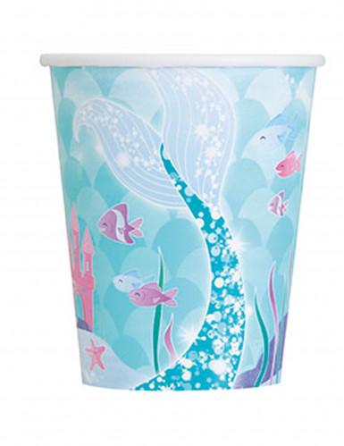 8 bicchieri in cartine sirena blu