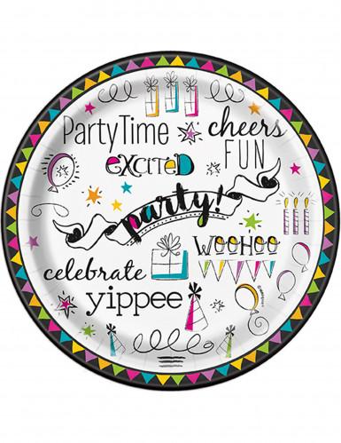 8 piattini in cartone Doodle Happy Birthday 18 cm