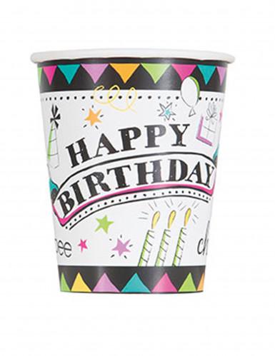 8 bicchieri di carta Doodle Happy birthday
