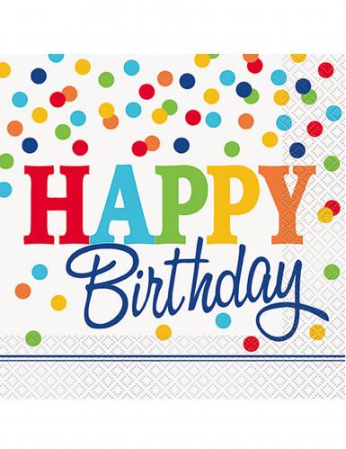 16 tovaglioli Happy Birthday pois multicolor
