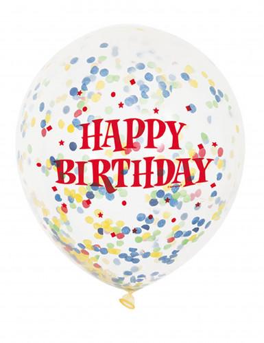 6 palloncini in lattice trasparenti Happy Birthday