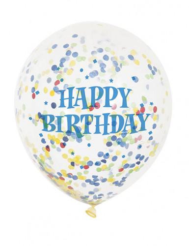 6 palloncini in lattice trasparenti Happy Birthday-2