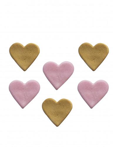 6 cuori di zucchero rosa e dorati