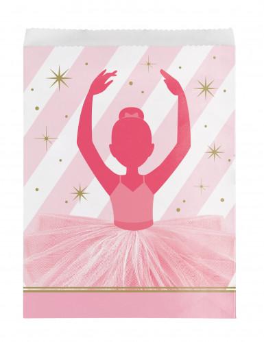 10 sacchetti di carta ballerina rosa e oro