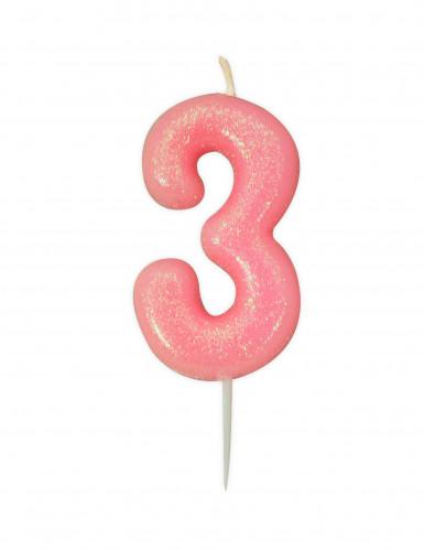 Candela numero 3 rosa iridescente