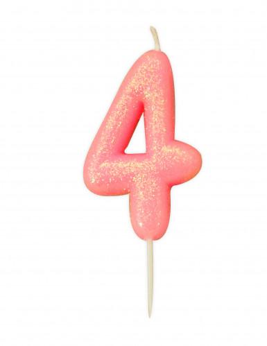 Candela numero 4 rosa iridescente
