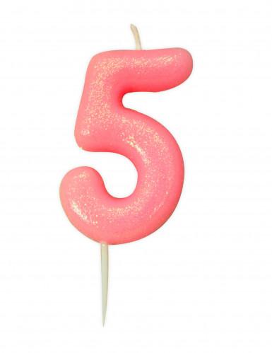Candela numero 5 rosa iridescente
