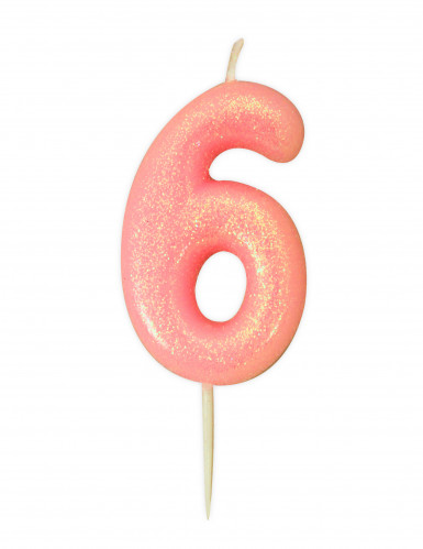 Candela numero 6 rosa iridescente