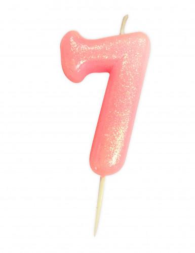 Candela numero 7 rosa iridescente