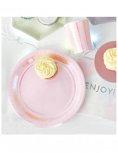 12 piatti in cartone rosa iridescenti 23 cm-1