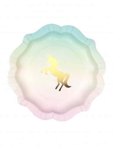 12 piatti in cartone unicorno dorato 21 cm