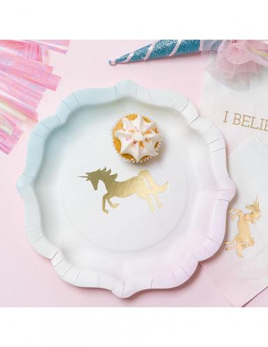 12 piatti in cartone unicorno dorato 21 cm-1