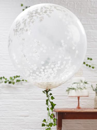 3 palloncini giganti trasparenti con coriandoli bianchi-1