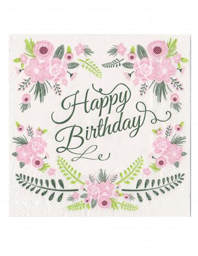 20 tovaglioli Happy Birthday con fiori