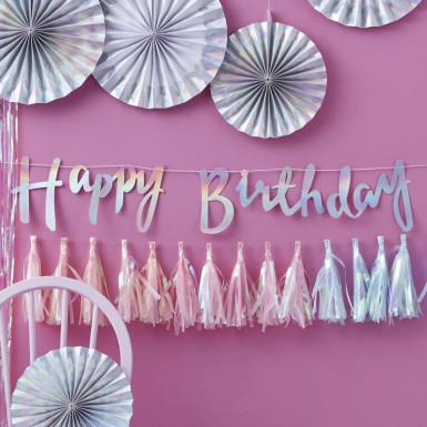 Ghirlanda Happy Birthday iridescente-1