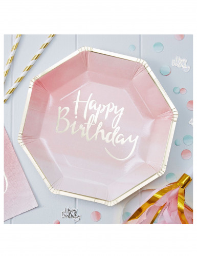 8 piatti in cartone rosa e oro Happy Birthday 25 cm-1