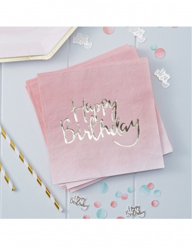 20 tovaglioli di carta Happy Birthday rosa e oro-1