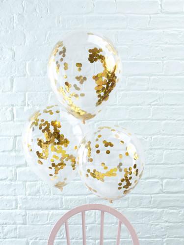 5 palloncini trasparenti con coriandoli dorati-1