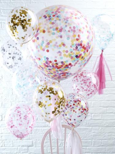 5 palloncini trasparenti con coriandoli dorati-2