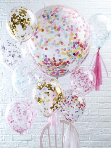 5 palloncini trasparenti con coriandoli rosa-2
