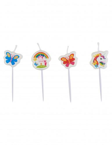 4 mini candele unicorno