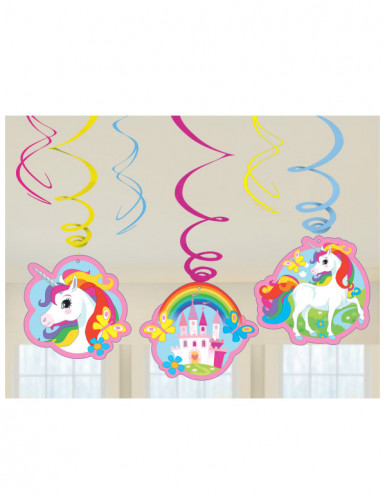 6 sospensioni a spirale unicorno arcobaleno