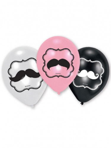 6 palloncini di lattice con baffi 3 colori