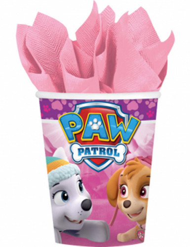8 bicchieri di cartone Paw Patrol™ rosa