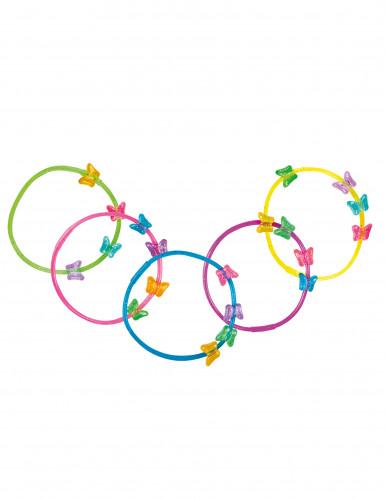 5 bracciali colorati con farfalle