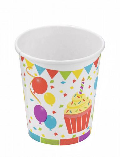 6 Bicchieri in cartone palloncini di compleanno