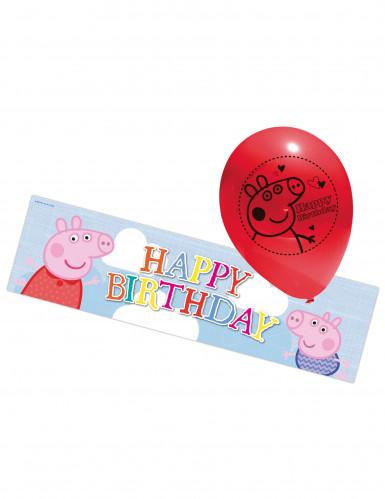 5 palloncini in lattice e banner in plastica Peppa Pig™